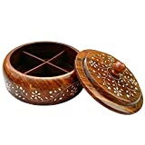 Indian Glance Wooden Large Spice Rack Organizer Box White Inlay | Holder | Containers Without Spices (Masala Dabba Spice Box)