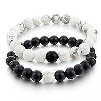 Infinite Joy YinYang Labradorite and Black Agate Gemstone His and Hers Bracelets Couple Bracelet (2pcs) (transparent&black)