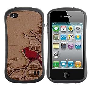 "Hypernova Slim Fit Dual Barniz Protector Caso Case Funda Para Apple iPhone 4 / iPhone 4S [Arte rojo del pájaro Rama Fairytale""]"