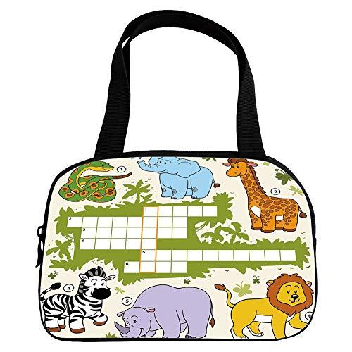 - Personalized Customization Small Handbag Pink,Word Search Puzzle,Colorful Crossword Game for Children Wild Jungle Safari Animals Grid Decorative,Multicolor,for Girls,Personalized Design.6.3