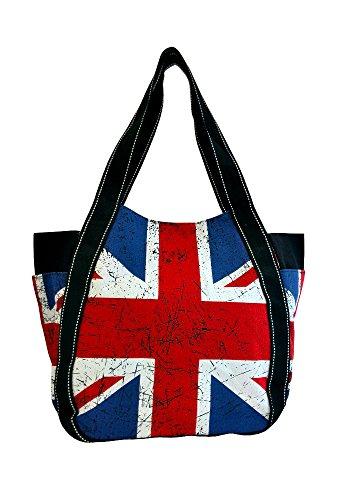 Robin Ruth Canvas Schultertasche/Shopper London Union Jack in weiß (Maße: LxHxT 36x28x15cm)