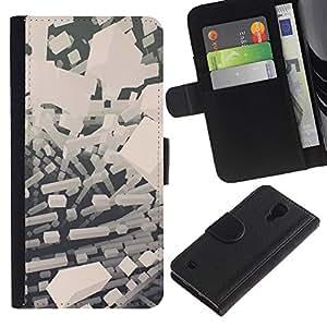 Stuss Case / Funda Carcasa PU de Cuero - Abstract bloques blancos - Samsung Galaxy S4 IV I9500