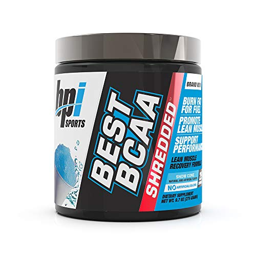 BPI Sports Best BCAA Shredded - Caffeine-Free Thermogenic Recovery Formula - BCAA Powder - Lean Muscle Building - Accelerated Recovery - Weight Loss - Hydration - Snow Cone - 25 Servings - 9.7 oz. (Super Shred Cone)