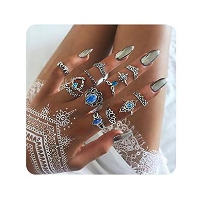 Ainiya Fashion Rings Set Boho Knuckle Stackable Rings Set For Women Girls