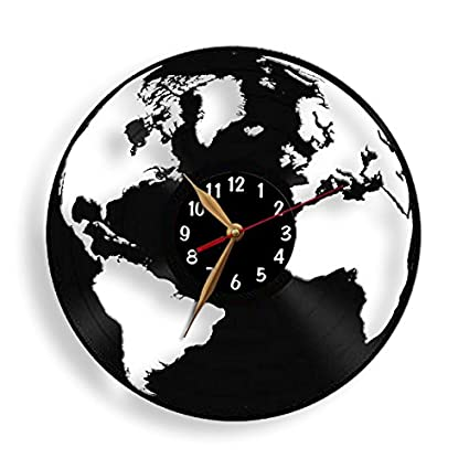 Amazon globe clock earth map vinyl record wall clock world globe clock earth map vinyl record wall clock world black wall art decor gumiabroncs Images