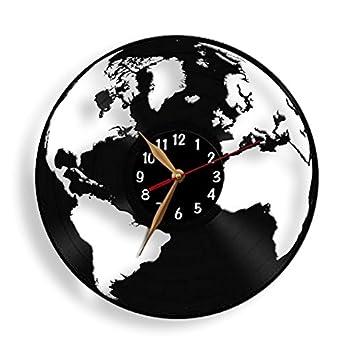 Amazon globe clock earth map vinyl record wall clock world globe clock earth map vinyl record wall clock world black wall art decor gumiabroncs Gallery