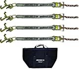 "AW Direct AW400 Extra-Strength 4-Point Tie Down Kit with Cluster Straps and Heavy Duty Ratchets with Chain End – Top Quality PVB Coated 2""W x 8'L Cluster Straps + Carrying Case"