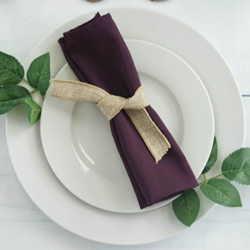 BalsaCircle 10 pcs 17-Inch Eggplant Purple Polyester Luncheon Napkins - for Wedding Party Reception Events Restaurant Kitchen Home