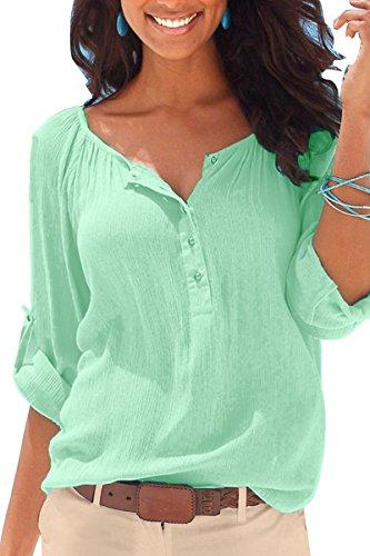 Mulisky V Neck Button-Up Blouse Long Sleeve Summer Blue Top Shirts for Women XL (Blue Linen Blouse)