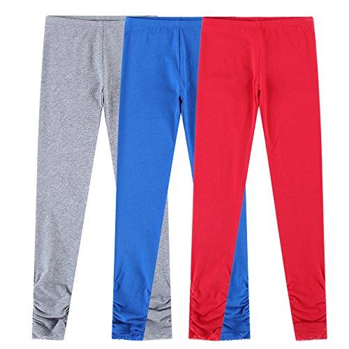 Bienzoe Girl's Knit Cotton Stretch School Uniform 3 Leggings Pack Dk 8