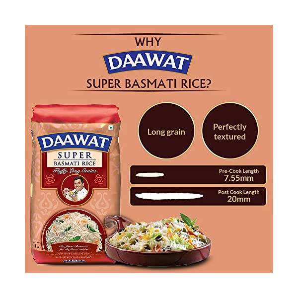 Daawat Super Basmati, 1kg with 25% Extra 2021 July Safe and clean Untouched by human hands Hygieically packed