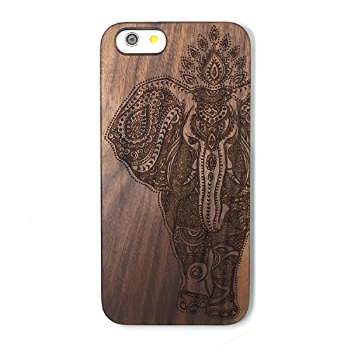 BTHEONE Patterni Design For iPhone 6 Plus Case, Phone 6s Plus Case(5.5inch),Handmade Natural Solid Wood Case, Real wooden Case(Walnut-Elephant)