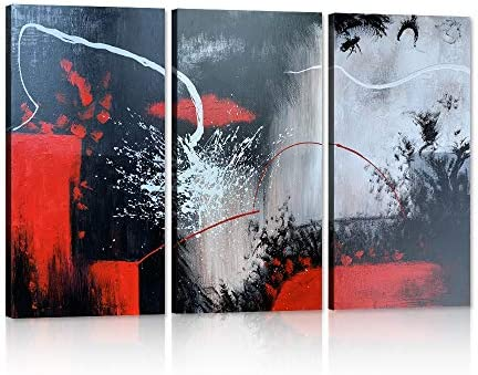 Yatsen Bridge 3 Piece Black White Red Modern Abstract Oil Paintings on Canvas Artwork Wall Art for Living Room Home Decor Posters and Prints Pictures Stretched and Framed 36 W x 24 H