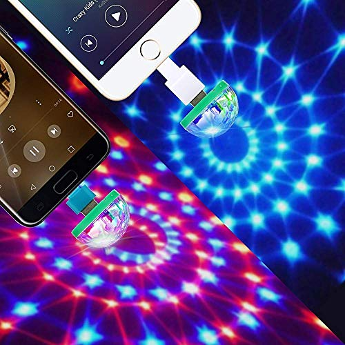 USB Party Lights Mini Disco Ball,Led Small Magic Ball Sound Control DJ Stage Light Colorful Strobe Lamp with Sound Control For Christmas Brithday Club Decorations (USB, Random -