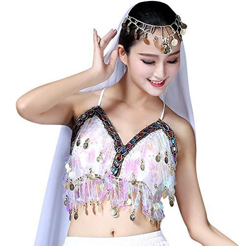 Loveble Capestro Bianco BH Paillettes Dance Boho Nappa Ladies Bra Reggiseno Salsa TPwT7r