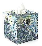 Peacock Paisley Tissue holder Decorative Vintage Design Hinged Refillable TissueBox Holder Cover (Medium, Peacock Blue)