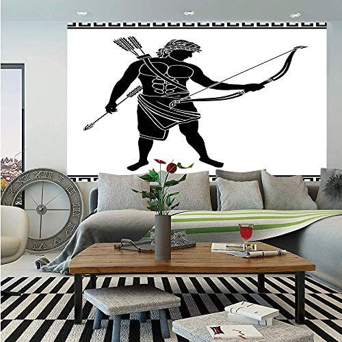 SoSung Toga Party Wall Mural,Hellenic Bowman Silhouette Eros Fantasy Gladiator Old Mediterranean Print Decorative,Self-Adhesive Large Wallpaper for Home Decor 55x78 inches,Black and ()