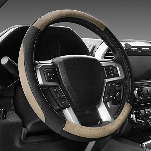 (SEG Direct Black and Beige Microfiber Leather Steering Wheel Cover for F-150 Tundra Range Rover 15.5