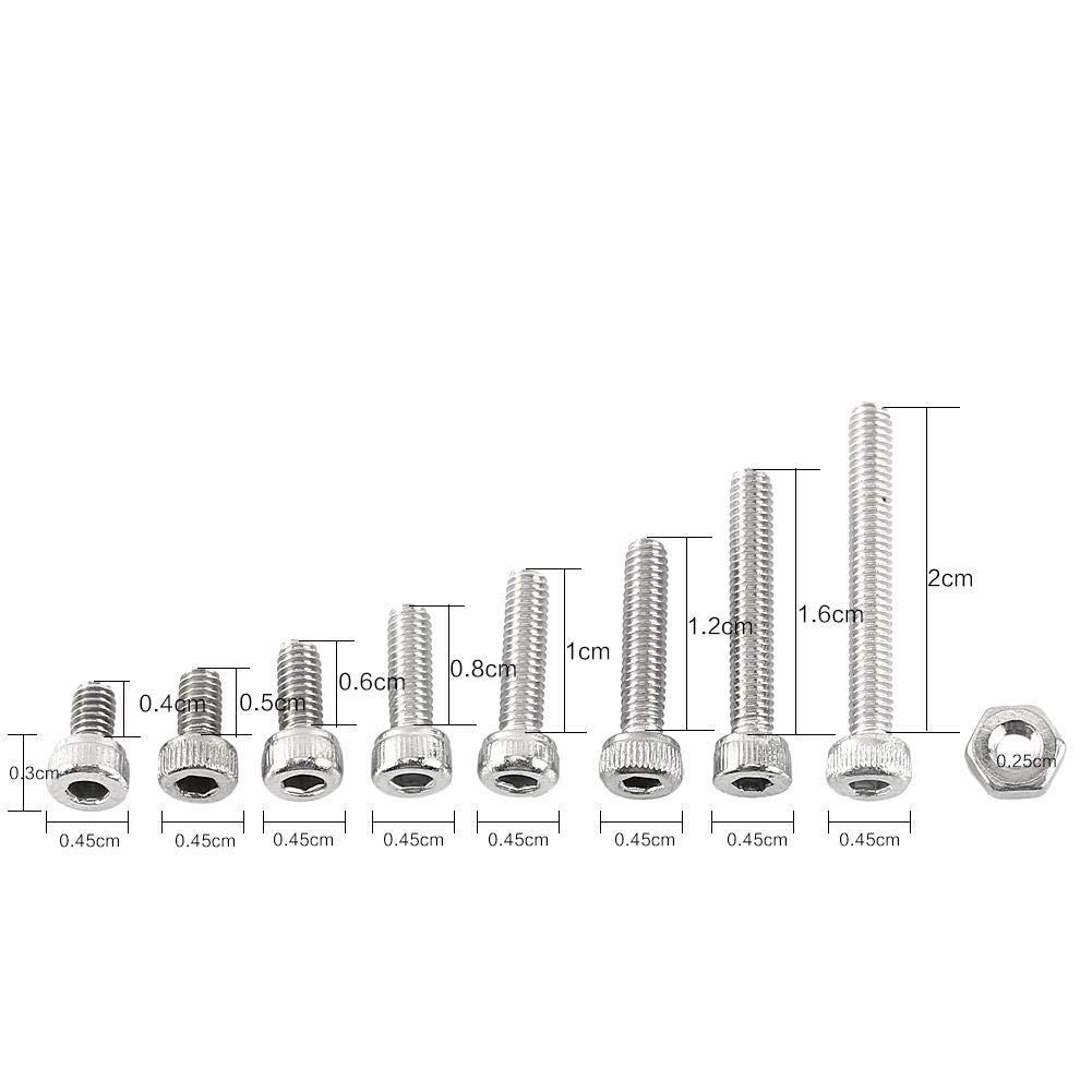 Akozon Coffrets boulons et /écrous 300pcs M2.5 A2 Bouton Vis /à t/ête Hexagonale en Acier Inoxydable C