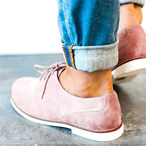 Flat Shoes Shoes Sport Round British Simple Ankle Toe Color BaZhaHei Boots Suede Lace Boots Women's Pink Solid Short Shoes 2 Size 5 Loafers Up 8 Casual Style Vintage TqwzZ