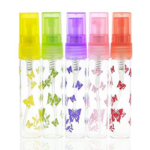 JIEPING 6 Pcs 5ml Glass Refillable Perfume Spray Bottles Set Portable Size Atomizer Perfume Bottle Butterfly Printing
