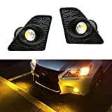 iJDMTOY Lexus F Sport 15W High Power Projector LED Fog Light Kit For 2013-2015 Lexus GS350 GS460 GS450h, 2500K Gold Yellow