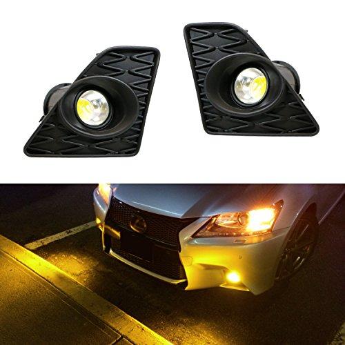 iJDMTOY Lexus F Sport 15W High Power Projector LED Fog Light Kit For 2013-2015 Lexus GS350 GS460 GS450h, 2500K Gold Yellow
