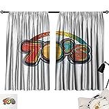 Jinguizi 70s Party Curtain Doorway Vintage Old School Icon Radial Design Classical Vivid Colored Art Print Pattern Darkening Curtains Red Marigold Aqua W55 x L39