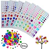 Willcome 6 Sheets Multicolor and Various Shapes Self-Adhesive Rhinestone Sticker, with 100 Pieces Star and Heart Shape Glitter Foam Sticker Self Adhesive (Muticolor)