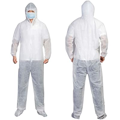 Rmeioel Disposable Protective Coverall Suit Waterproof Oil-Resistant Spray Painting Isolation Gowns with Hood: Home & Kitchen