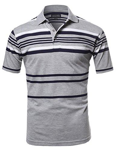 Basic+Everyday+Stripe+Polo+T-Shirt+with+Pocket+Heather+Grey2+L