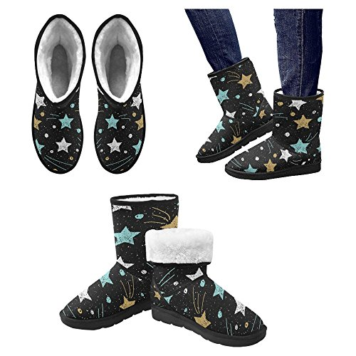 Designed InterestPrint Boots Womens Star Gold and Boots Winter White 1 Unique Comfort Star Snow Blue Multi Doodle EpwrnBIqpd