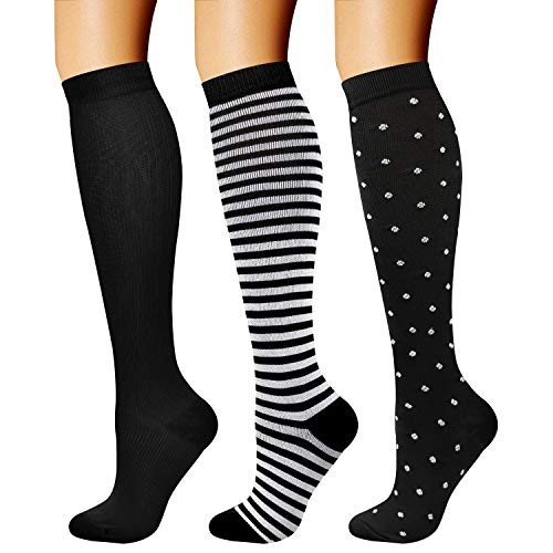 Compression Socks (3 Pairs), 15-20 mmHg is Best Athletic & Medical for Men & Women, Running, Flight, Travel, Nurses - Boost Performance, Blood Circulation & Recovery (Small/Medium, Assorted 31)