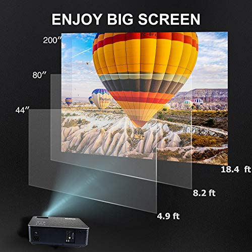 Projector, WiMiUS P18 4000 Lumens LED Projector Support 1080P 200'' Display 50,000H LED Compatible with Amazon Fire TV Stick Laptop iPhone Android Phone Xbox Via HDMI USB VGA AV Black by WiMiUS (Image #6)