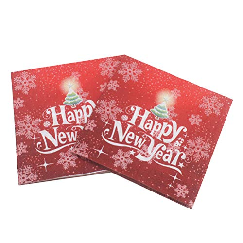 BESTOYARD Happy New Year Printed Napkin Wood Pulp Colorful Party Napkin Restaurant Decoration 100pcs by BESTOYARD (Image #8)