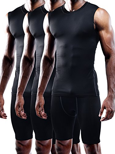 Neleus Men's 3 Pack Compression Wear Sport Athletic Sleeveless Tank Top,02,Black,S,Tag (Mens Sports Wears)