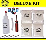 E-Z Tire Balance Beads Deluxe Kit Light Truck 8 oz Four-Pack (4 bags of 8 oz Balancing Beads) 32 Ounces Total, Applicator Kit, Filtered Valve Cores, Red Caps