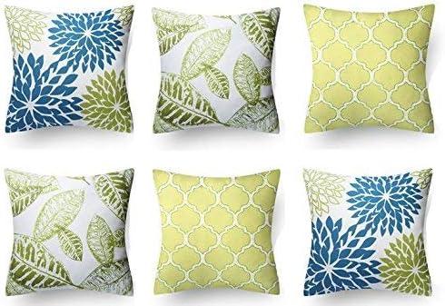 WesternBeddingDeco Diseño Floral de algodón Fundas de Cojines Decorativos Cubiertas Tirar Almohada / (Azul-Verde-Lima; 16x16 Pulgadas) - Lote de 6: Amazon.es: Hogar