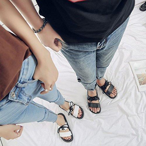 BUIMIN Chancletas Zapatillas Para Adulto-Unisex Atractiva De Pareja Correas Antideslizantes Transpirable Para Playa Casual Moda Verano Color Negro/Blanco. (42-43, Blanco)
