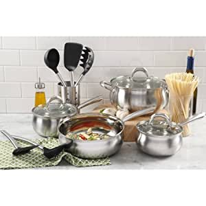 Oster Meryll 13-Piece Apple Shape Stainless Steel Cookware Combo Set | Stainless Steel Apple Shape Cookware Combo Set