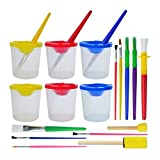 Wobe 6pcs Spill Proof Paint Cups with Lids and 14pcs Painting Brushes Set, Children's No Spill Paint Cups with Assorted Colored Brushes Kit Include Round, Flat, Spong Head brushes