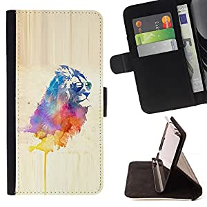DEVIL CASE - FOR Samsung Galaxy S4 IV I9500 - Cool Lion Sunglasses Watercolor Art Painting Cat - Style PU Leather Case Wallet Flip Stand Flap Closure Cover