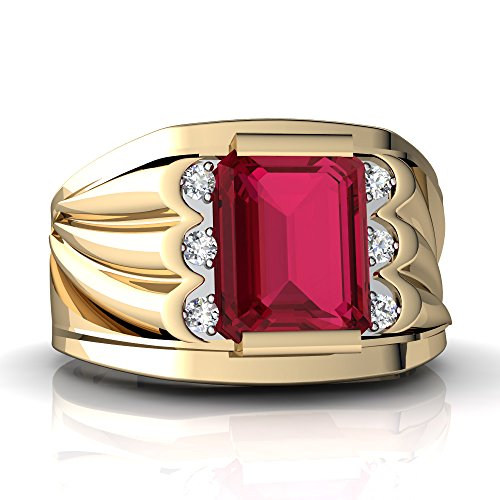 (14kt Yellow Gold Lab Ruby and Diamond 9x7mm Emerald_Cut Men's Ring - Size 10)