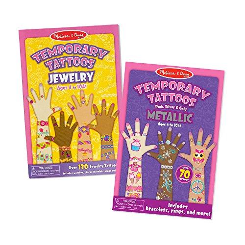 Melissa & Doug Press-On Temporary Tattoos for Kids 2 Pack - Jewelry, Metallic ()