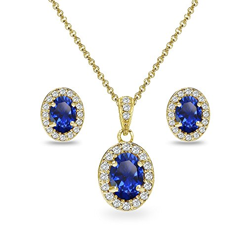 Yellow Gold Flashed Sterling Silver Created Blue Sapphire & CZ Oval Halo Necklace & Stud Earrings Set with CZ ()
