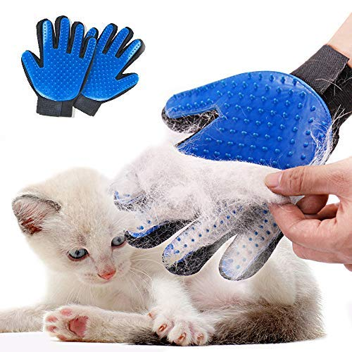 Pet Grooming Glove Hair Remover Brush Gentle Deshedding Efficient Pet Mitt Pet Massage Gloves Left & Right Hand Draw Dogs Cats Horses Long Short Fur (1Pair Left & Right Hand)