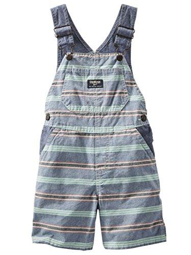 OshKosh B'gosh Baby Boys' Pattern Shortalls, Orange Green Stripe, 6 Months