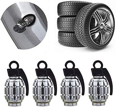 4Pcs Grenade Design Metal Bike Car Motorcycle Tyre Air Valve Dust Caps Cover