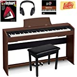 Casio Privia PX-770 Digital Piano - Brown Bundle with Furniture Bench, Instructional Book, Austin Bazaar Instructional DVD, and Polishing Cloth