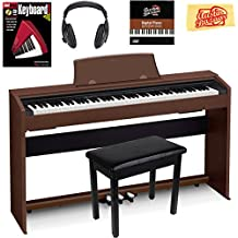 Casio Privia PX-770 Digital Piano - Brown Bundle with Furniture Bench, Headphones, Instructional Book, Austin Bazaar Instructional DVD, and Polishing Cloth